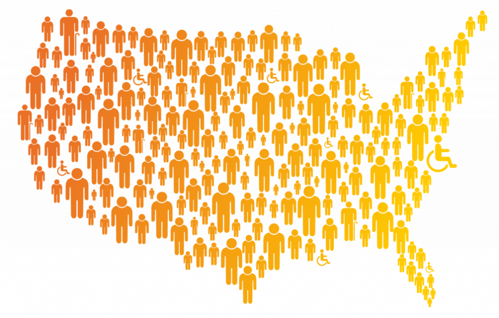 Map of the US composed of various sized people figures in shades of orange.