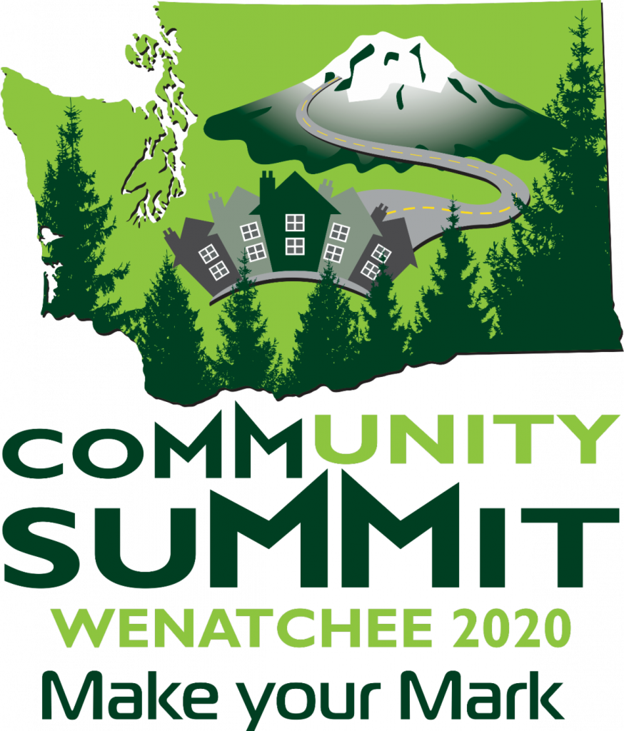 Map of Washington with images of Mount Rainier, trees, and a road leading to houses. Text reads: Community Summit Wenatchee 2020.