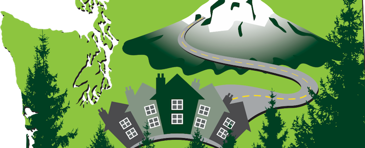 Cropped Community Summit logo with map of Washington with images of Mount Rainier, trees, and a road leading to houses.