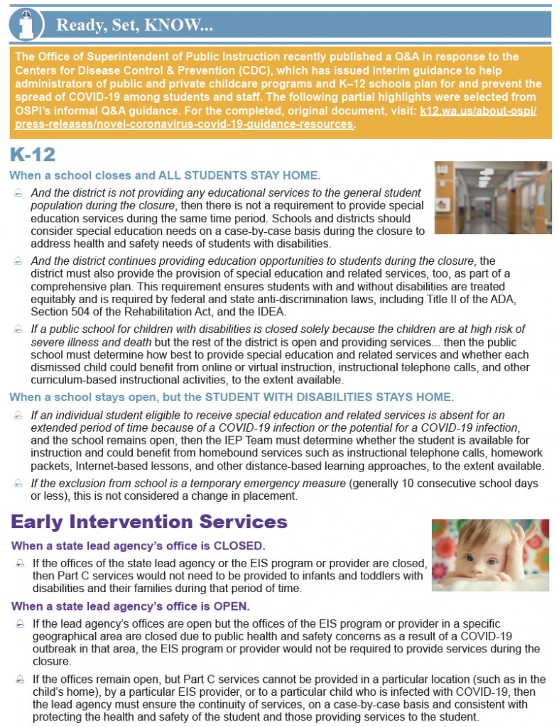 Thumbnail image of printable bulletin on OSPI closure guidance.