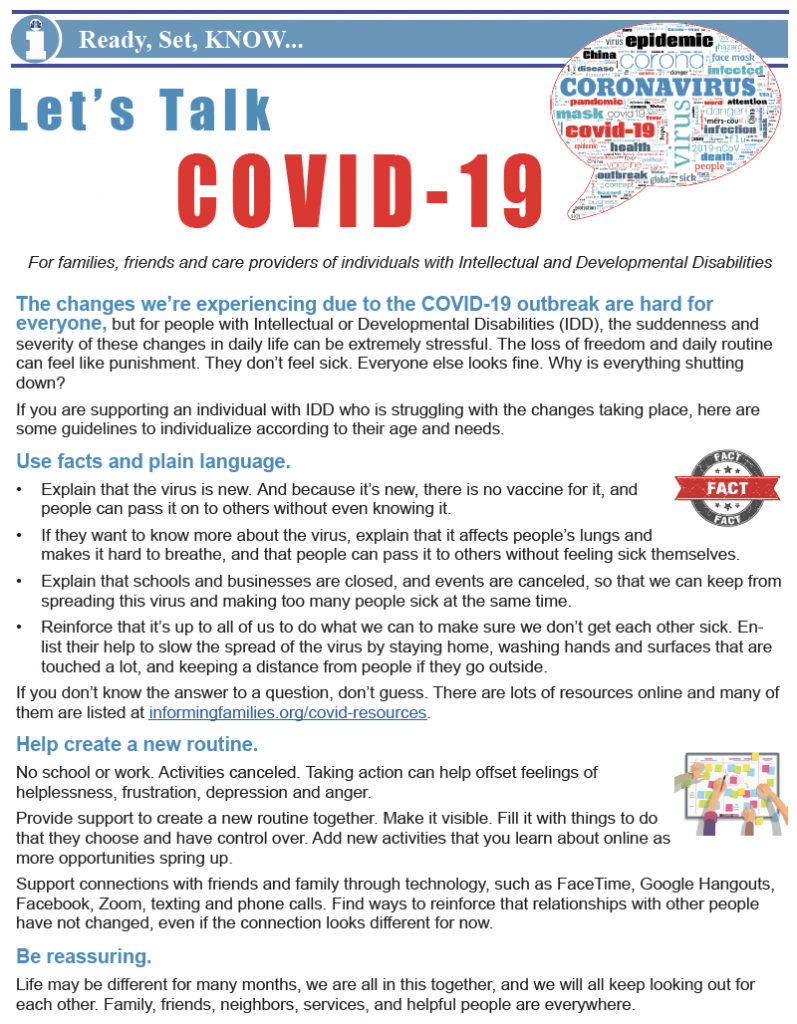 Thumbnail image of one page bulletin, Let's Talk COVID-19.