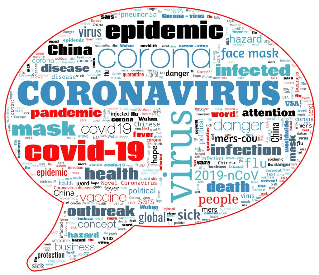 Tag bubble cloud on theme Coronavirus COVID-19 Outbreak on white background. Abstract concept Coronavirus disease COVID-19.