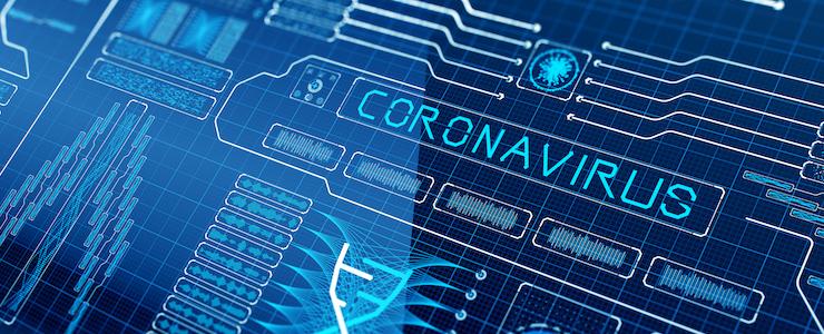 Coronavirus set against backlit graphs in blue tones.