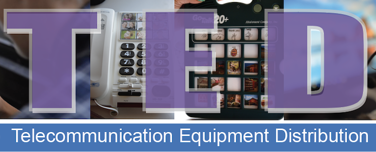 Background images of telecommunication devices. Title text: TED Telecommunications Equipment Distribution.
