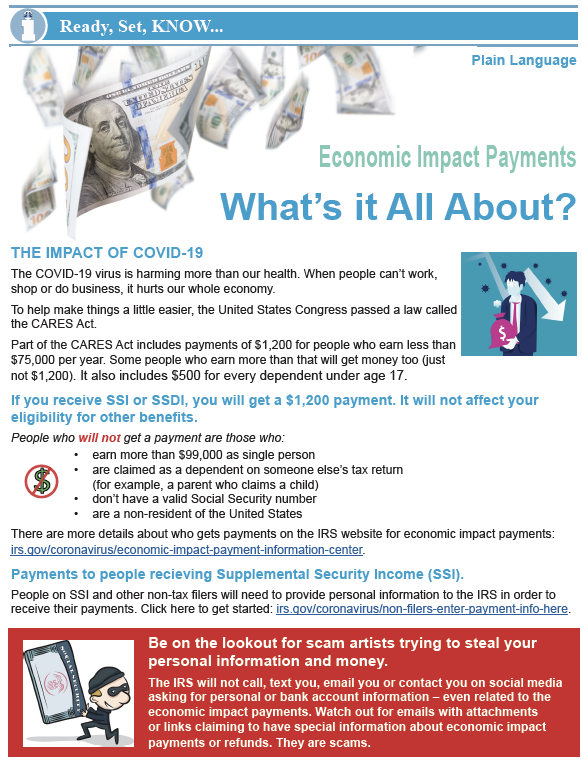 Thumbnail image of one page bulletin on Economic Impact Payments.