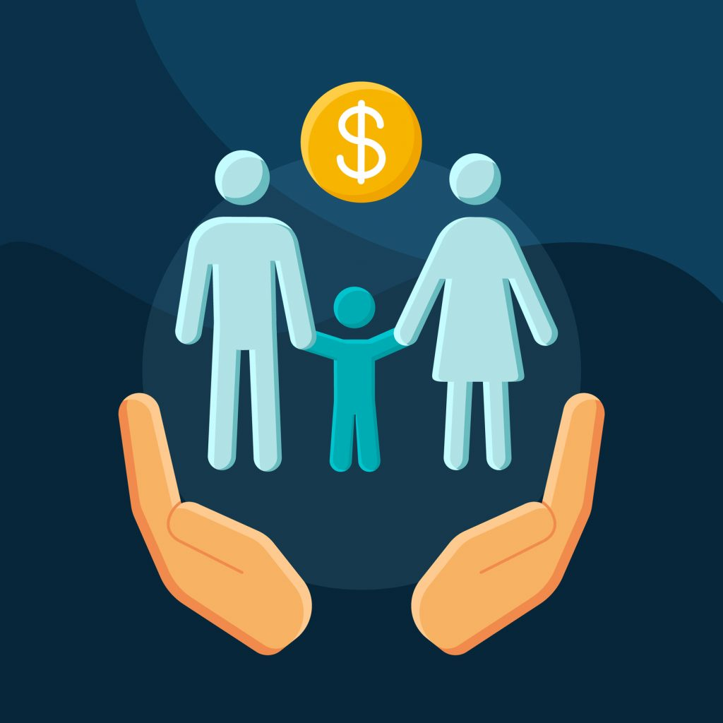 Social benefits flat concept vector icon. Low income financial assistance idea cartoon color illustrations set. Family welfare. Social safety net. Isolated graphic design element.