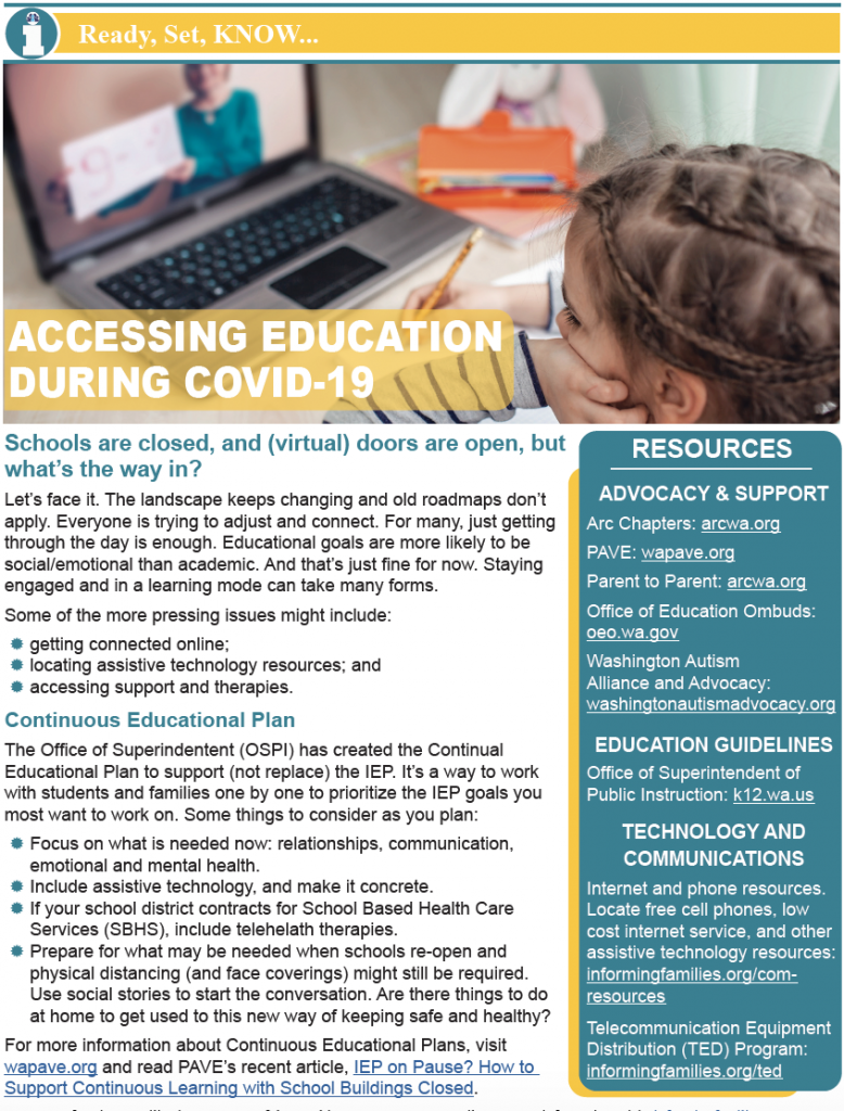 Thumbnail image of a one page PDF version of Education during COVID-19 article.
