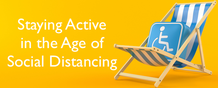 Disability symbol on deck chair isolated on orange background. Text reads: Staying active in the age of social distancing.