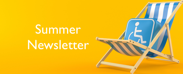Disability symbol on deck chair isolated on orange background.