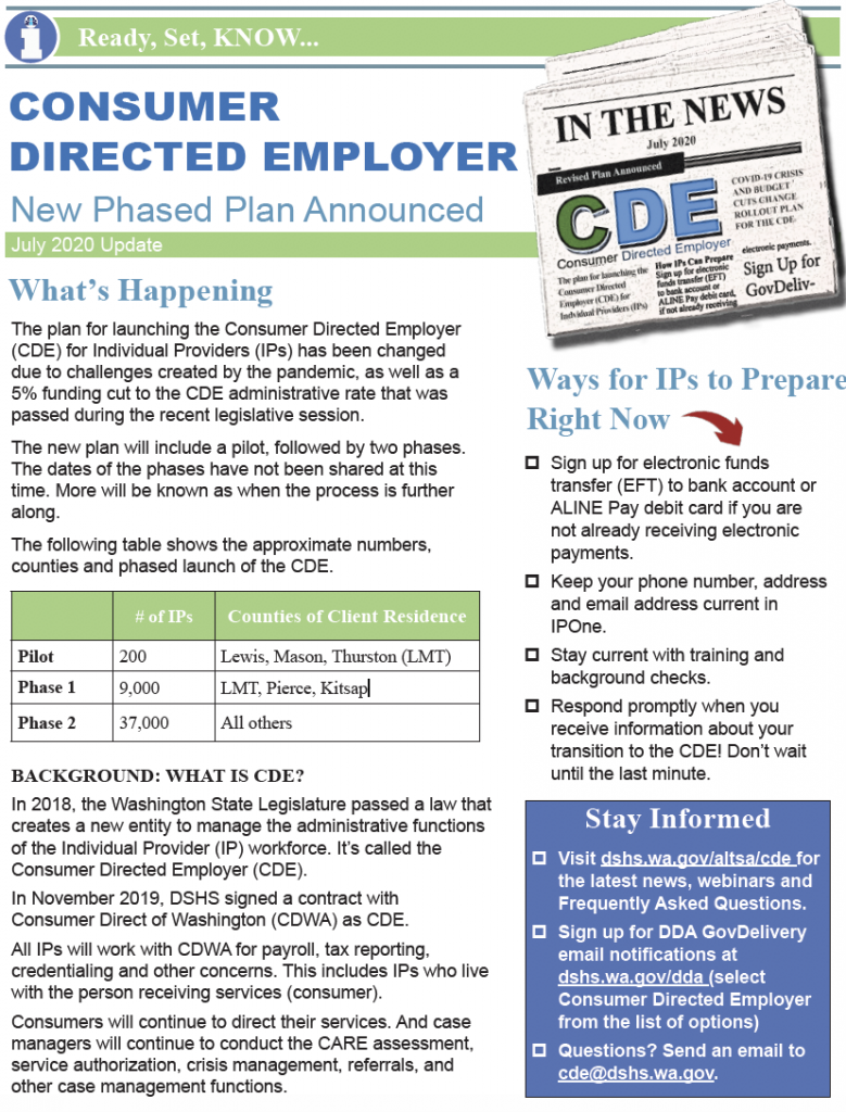 Thumbnail image of CDE update bulletin.