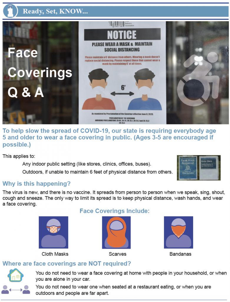 Thumbnail image of handout on face coverings Q&A.