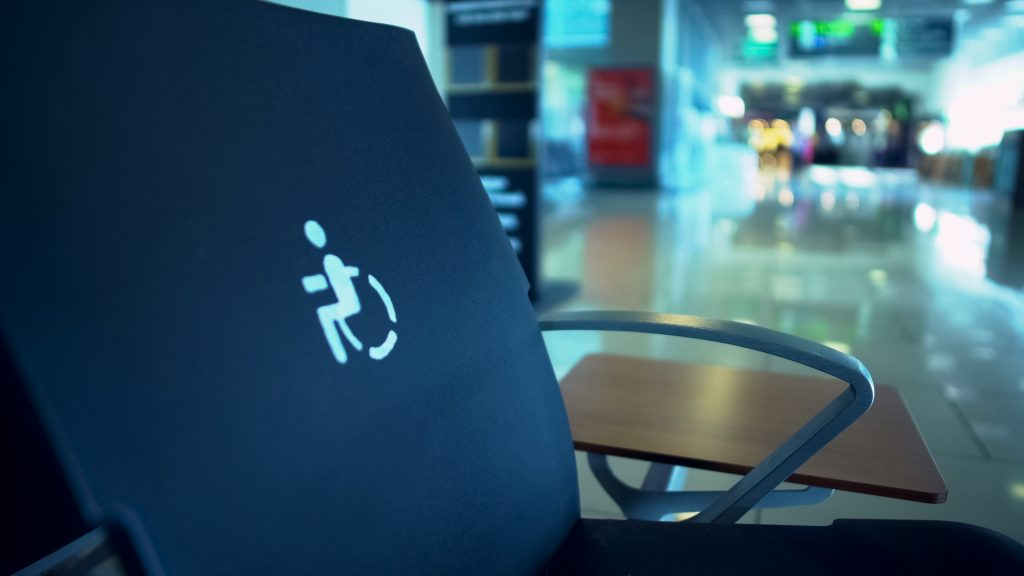 Sitting place for disabled people in waiting hall, comfortable service, care