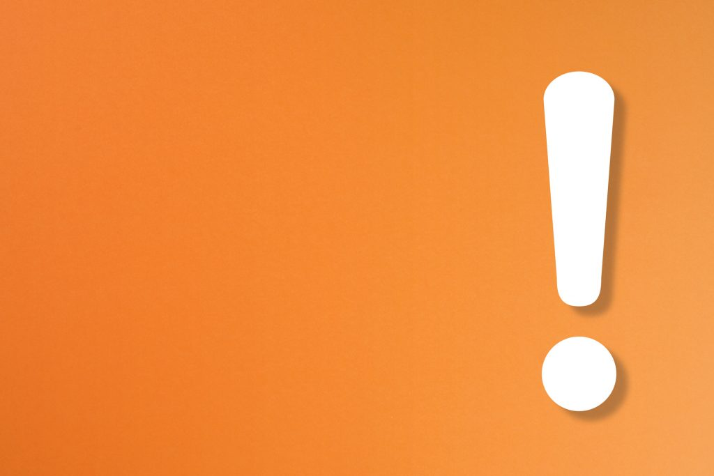 Exclamation mark on orange background