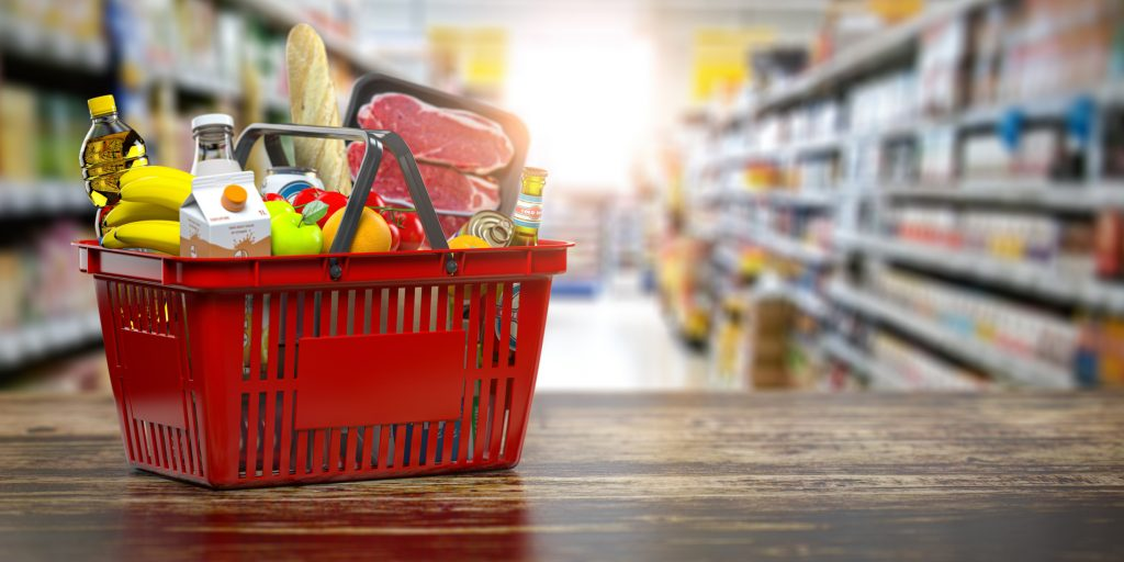 Shopping basket with fresh food. Grocery supermarket, food and eats online buying and delivery concept. 3d illustration.