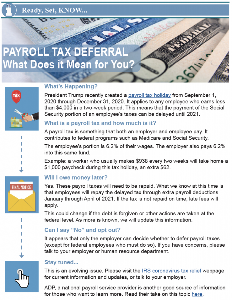 Thumbnail image of Payroll Tax Deferral bulletin.