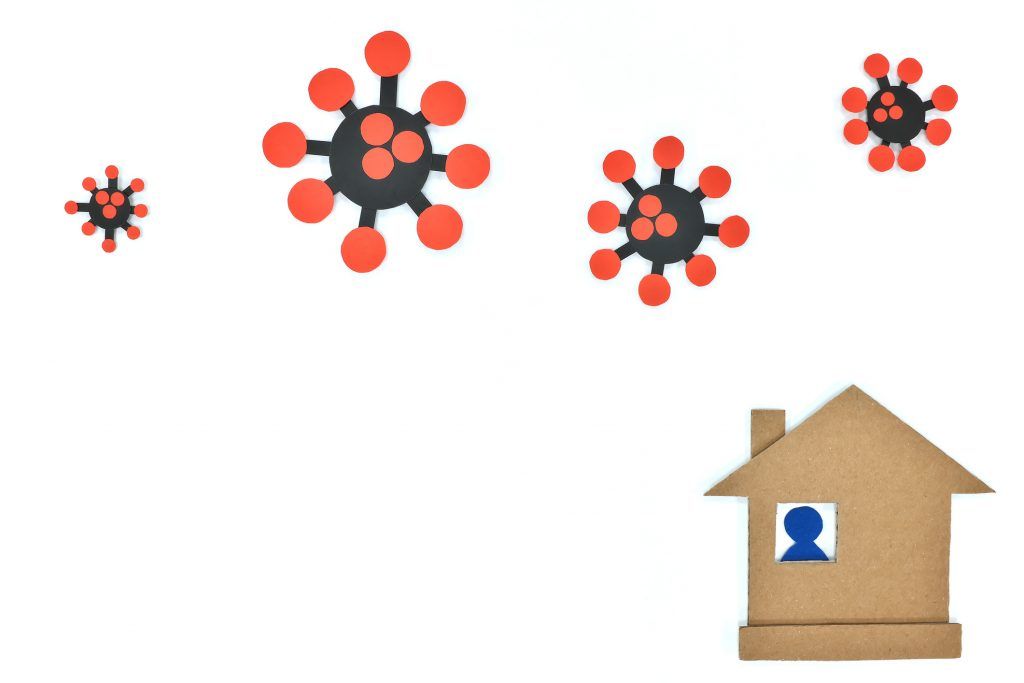 Silhouette of people inside house during coronavirus pandemic. Stay home, keep safe, quarantine and isolation. Cardboard cutout.