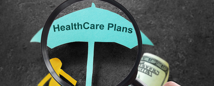 Person with magnifying glass and Healthcare Plans umbrella with cash