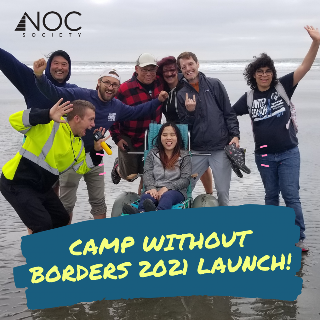 Camp without Borders 2021 Launch announcement. Young adults at the beach, celebrating.