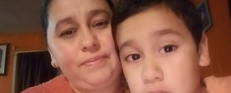 Close up of Maria and her son.