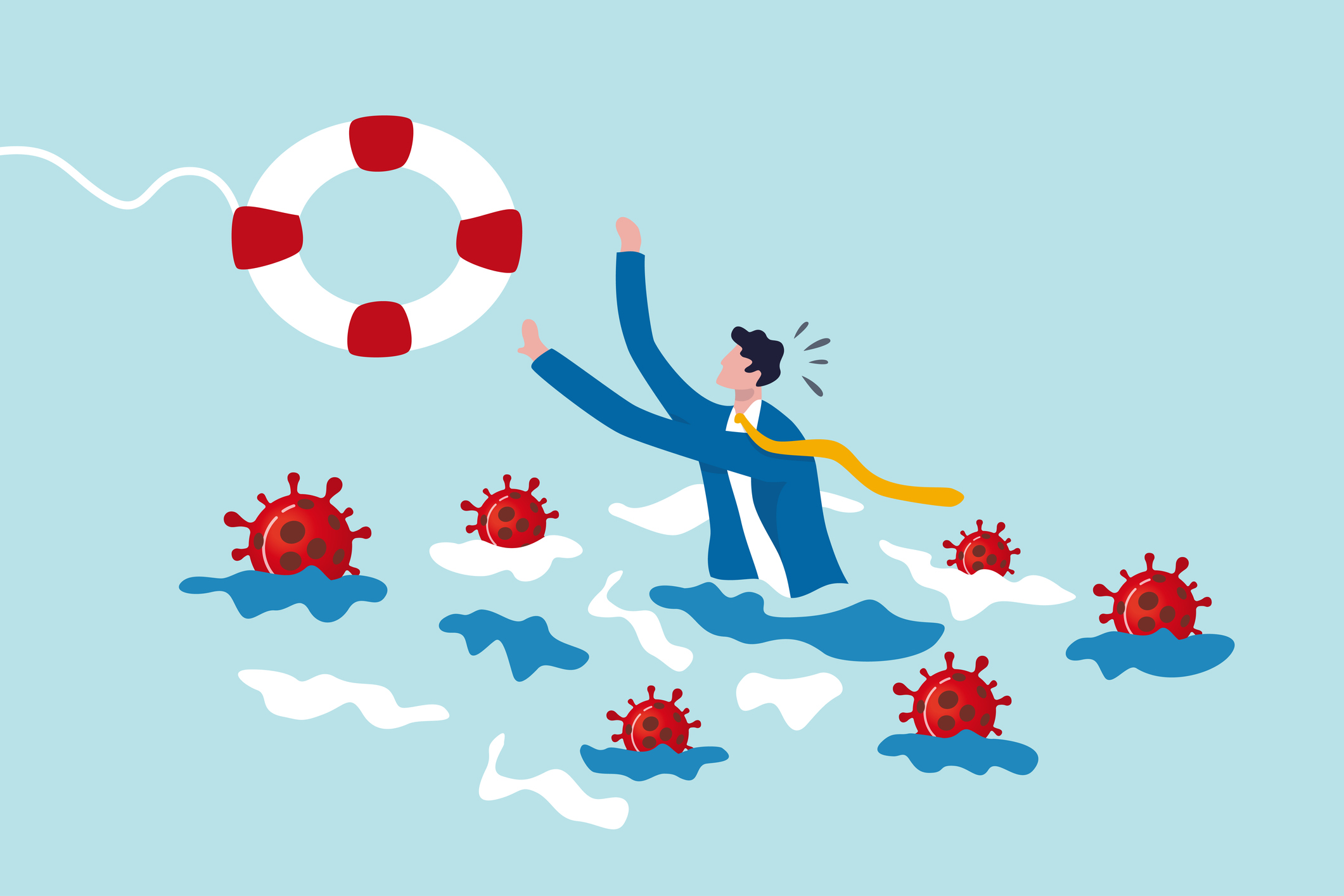 Man in water surrounded by COVID virus, reaching for a lifesaver.