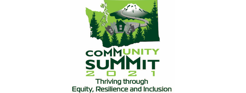 2021 Community Summit logo. Green map of Washington state with trees, mountain, road and buildings.